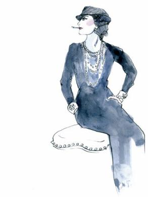 'In order to be irreplaceable one must always be different' - illustration of Coco Chanel by Zoe Sadokierski for my book, A Life in Frocks